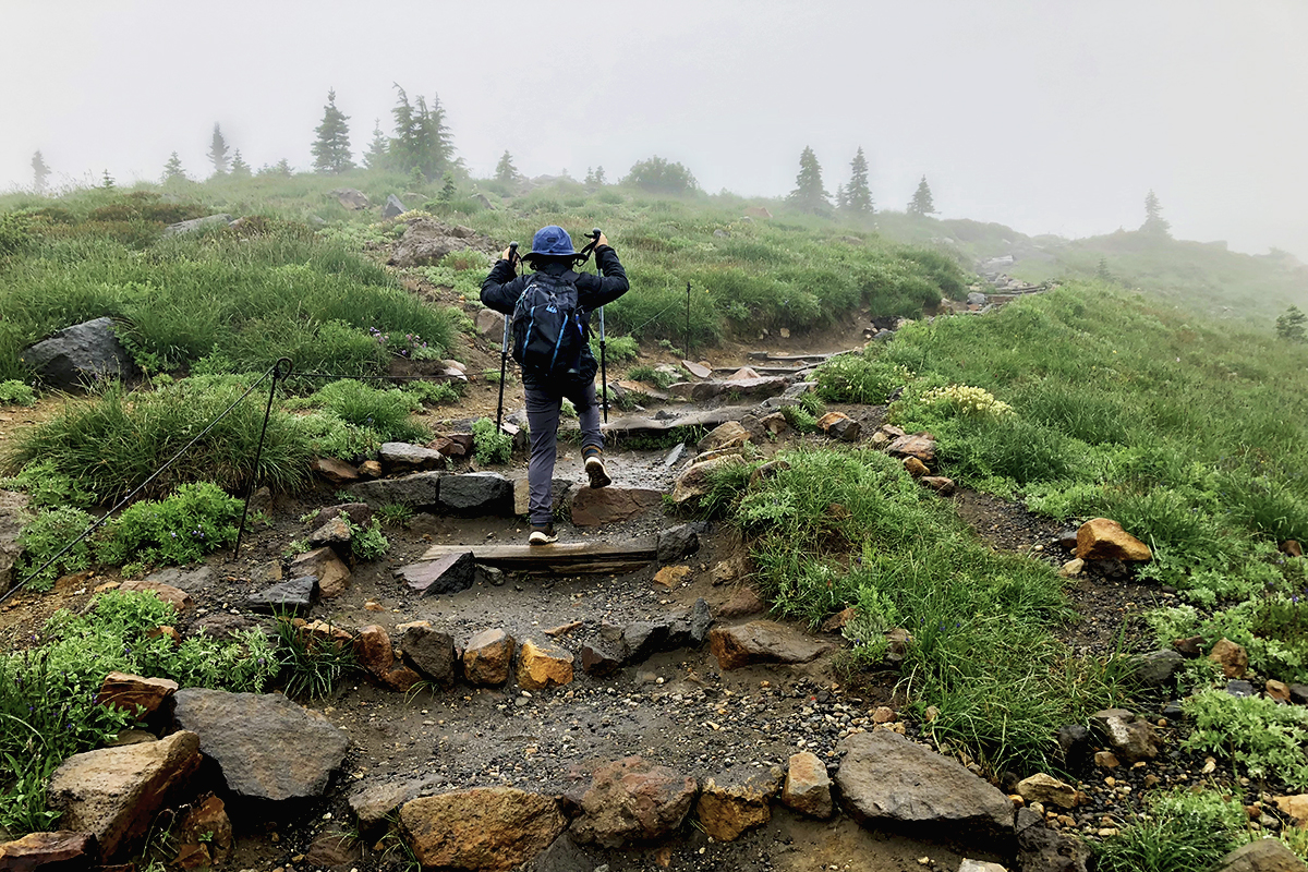 My son and I hiking Mt. Rainier in summer 2019.